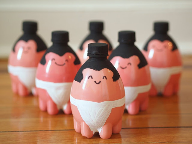 intro plastic bottle bowling pins sumo wrestlers