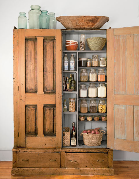 Turn an armoire into a kitchen pantry