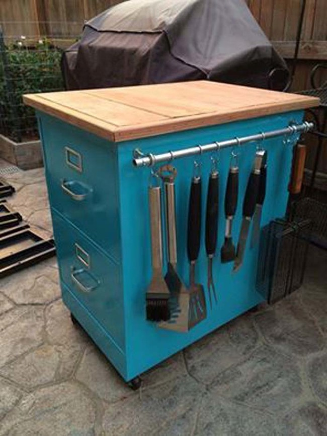Turn an old filing cabinet into a rolling kitchen cart