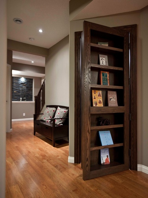 Use folding bookcase doors as functional portals