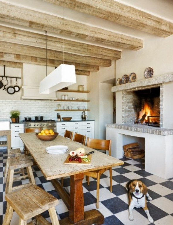 Install a fireplace in the kitchen