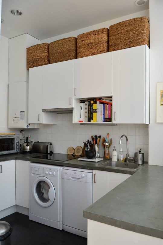 Place less-used items at the top of your cupboards