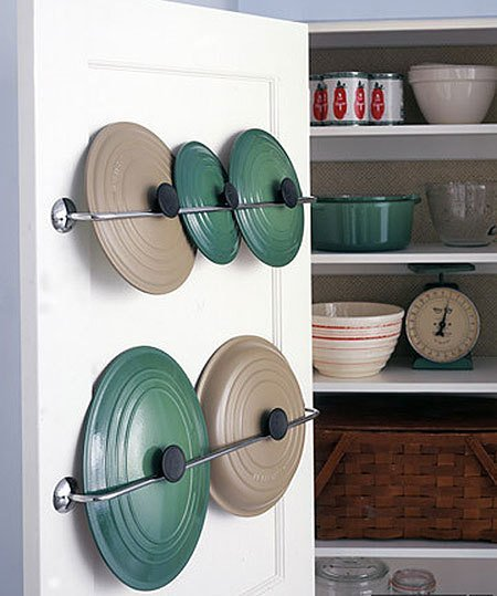 Store pot lids inside a cupboard door
