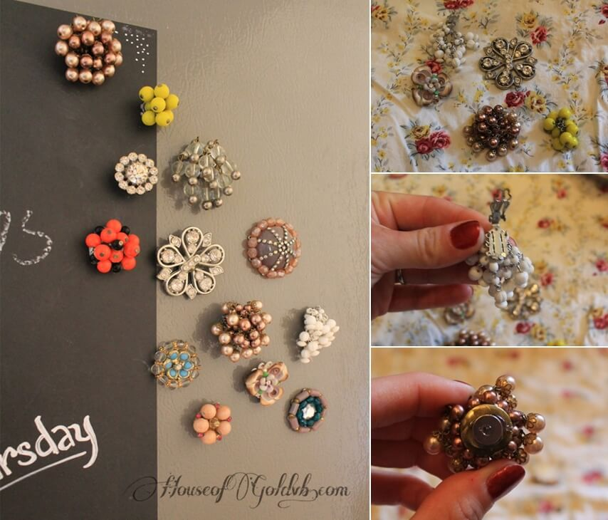 Broken jewelry into fridge magnets