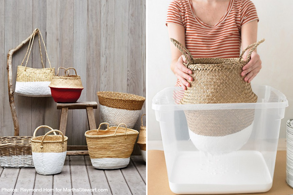 diy paint dipped baskets