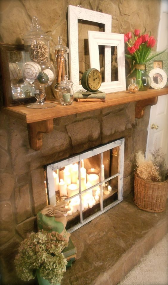 11 fantastic ideas for decorating an unused fireplace - Decorating inside a fireplace ...